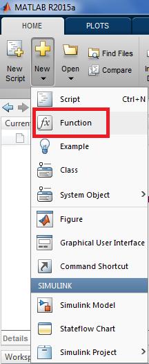 Criando novo Function Script no Matlab
