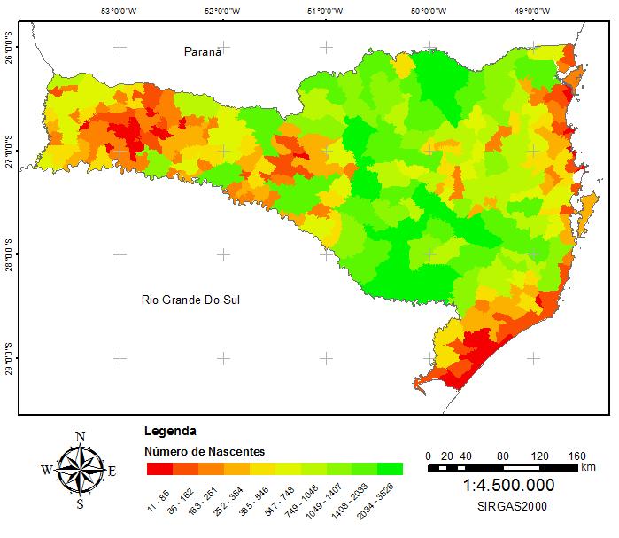 Distribuição de Nascentes no Estado de Santa Catarina