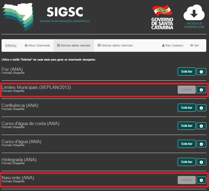 SIG-SDS - Dados Solicitados