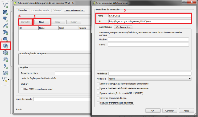 Adicionando servidor WMS no QGIS